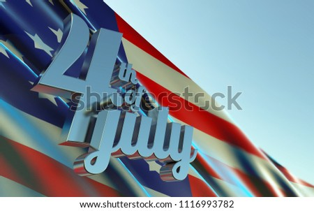 US flag with 3d metal text 4th of july independence day. 3D illustration. 3D rendering #1116993782