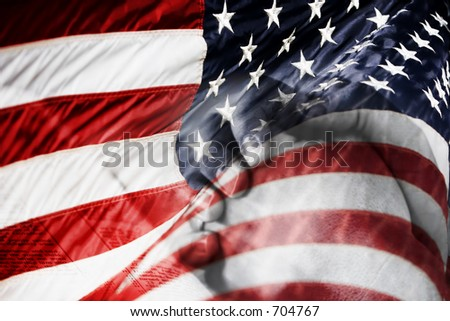 US flag with praying hands over a Bible - shows faith and prayer for country, military, and freedom.