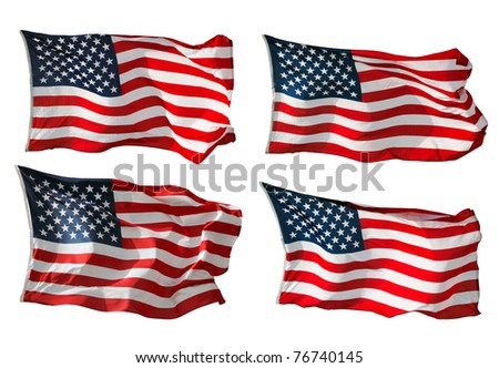 US Flags isolated in white