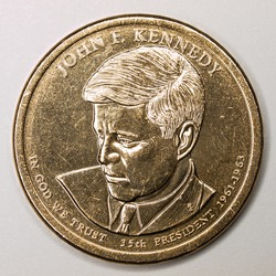 US Gold Presidential Dollar Featuring John F Kennedy