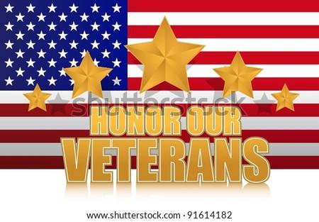 us honor our veterans gold illustration sign design on white
