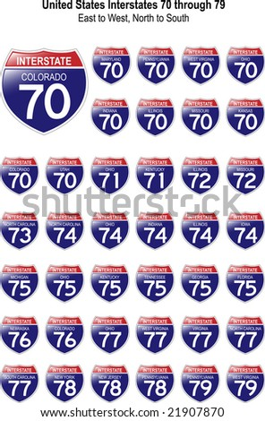 US Interstate Signs I-70 through I-79 with their respective states, with reflective-looking surface.
