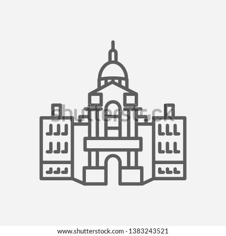 Us landmarks icon line symbol. Isolated  illustration of us landmarks icon sign concept for your web site mobile app logo UI design.