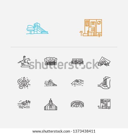 Us landmarks icons set. Louisiana and us landmarks icons with arizona, lowa and ohio. Set of the for web app logo UI design.