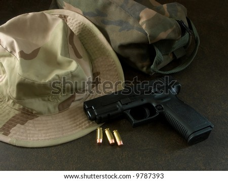 us marine camouflage hat and bag with gun