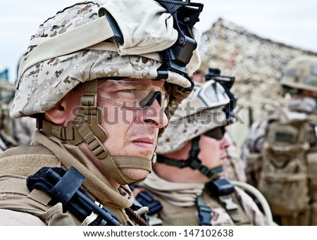 Us Marine In The Marpat Uniform And Protective Military Eyewear