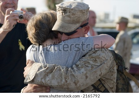 US Marine returning from Iraq - stock photo