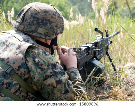 US Marine with the machine gun