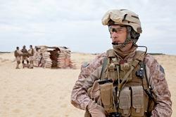 US marines in the desert near the blockpost
