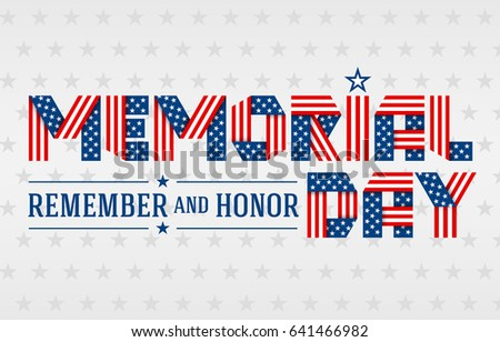 cf5e1f3031e US Memorial Day greeting card. Text made of interlaced ribbons with USA  flag s stars and