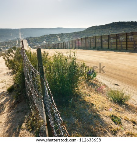 US/Mexico border fence near Campo, California, USA