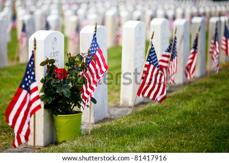 US Military Cemetery flying the US flags