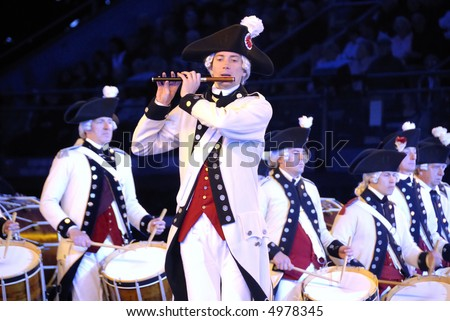 stock photo : US Militia historical society at the Edinburgh Military Tattoo 2007 at Edinburgh Castle