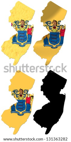 US New Jersey state flag over map collage