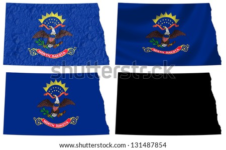 US North Dakota state flag over map collage