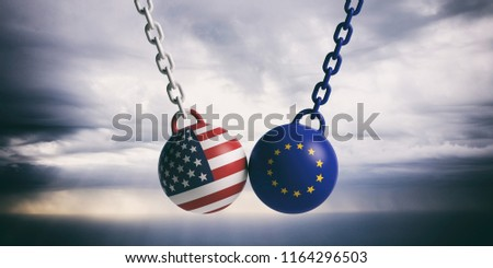 US of America and European Union relations. USA and EU flags wrecking balls swinging on blue cloudy sky background. 3d illustration