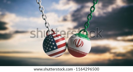 US of America and Iran relations. USA and Iranian flags wrecking balls swinging on blue cloudy sky background. 3d illustration