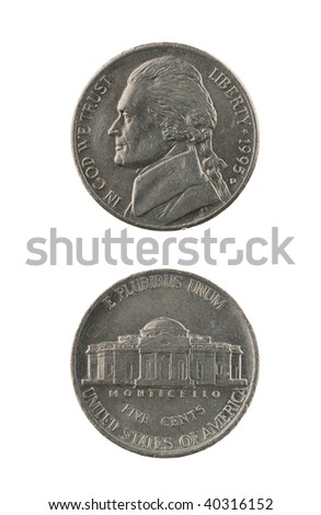 US one nickel coin (five cents) isolated on white ? obverse and reverse