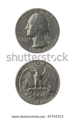 US one quarter coin (twenty five cents) isolated on white ? obverse and reverse