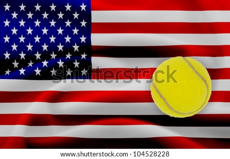 US Open tennis concept with flag and ball