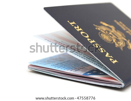 Us passport in ready traveling - stock photo