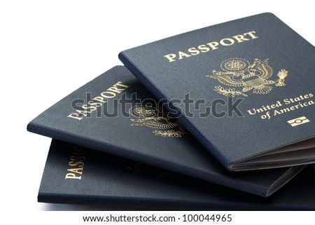 us passports over white background