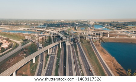 US Roads and Highways. I75 Interstate and I595 Highway in Broward County, Florida USA. Aerial, drone view. #1408117526
