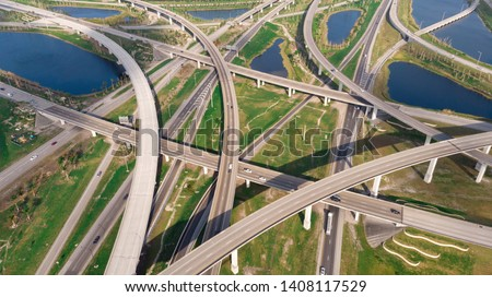 US Roads and Highways. I75 Interstate and I595 Highway in Broward County, Florida USA. Aerial, drone view. #1408117529