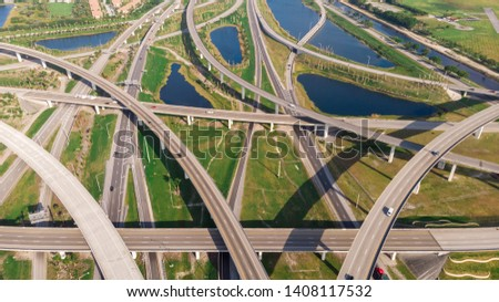 US Roads and Highways. I75 Interstate and I595 Highway in Broward County, Florida USA. Aerial, drone view. #1408117532