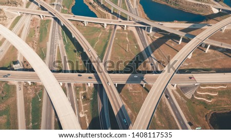 US Roads and Highways. I75 Interstate and I595 Highway in Broward County, Florida USA. Aerial, drone view. #1408117535