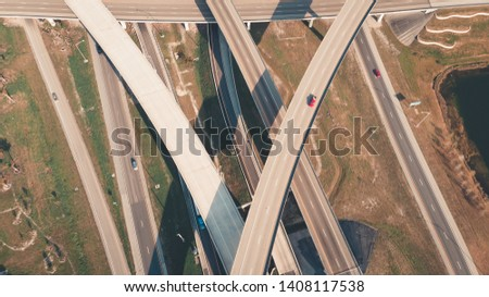 US Roads and Highways. I75 Interstate and I595 Highway in Broward County, Florida USA. Aerial, drone view. #1408117538