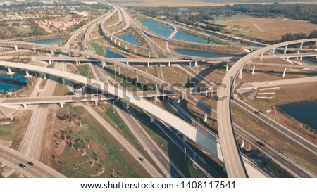 US Roads and Highways. I75 Interstate and I595 Highway in Broward County, Florida USA. Aerial, drone view. #1408117541
