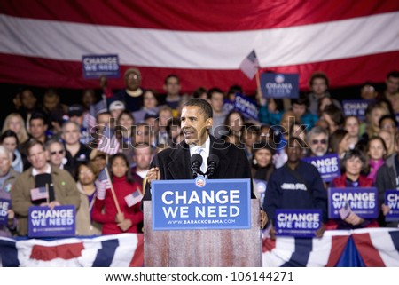 US Senator Barack Obama at Change We Need Presidential rally October 30, 2008, at Verizon Wireless Virginia Beach Amphitheater in Virginia Beach, VA