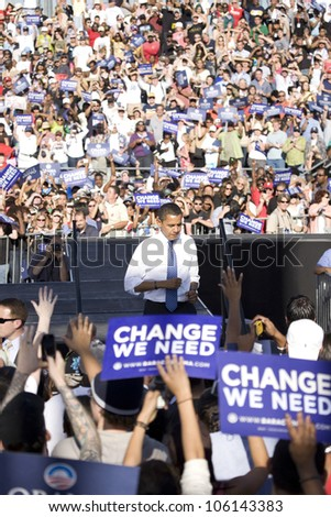 US Senator Barack Obama leaving stage at Early Vote for Change Presidential rally, October 25, 2008 at Bonanza High School, Judy K. Cameron Stadium in Las Vegas, NV - stock photo