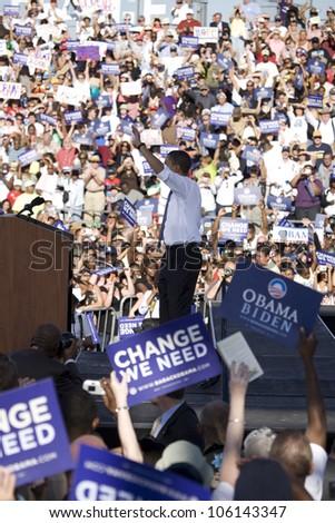 US Senator Barack Obama waving to crowd at Early Vote for Change Presidential rally, October 25, 2008 at Bonanza High School, Judy K. Cameron Stadium in Las Vegas, NV