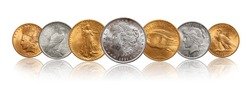 US silver gold dollar coins money