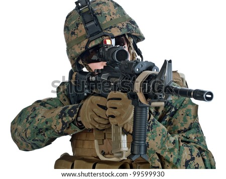 US soldier aiming his assault rifle. White background