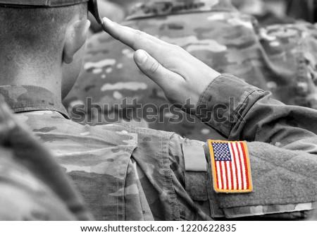 US soldier salute. US army. US troops