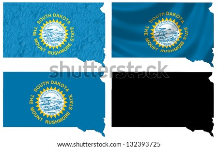 US South Dakota state flag over map collage