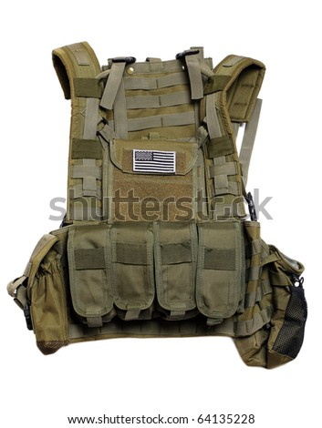 US tactical vest with flag. Isolated on a white background.