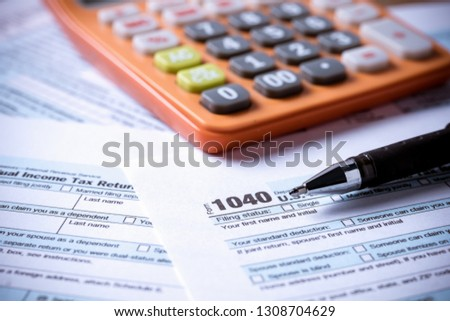 US tax form 1040 background for taxation concept finance and  business #1308704629