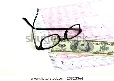 us tax forum with refund and glasses isolated on white