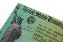 US treasury issued check with Statue of Liberty image
