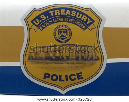 US Treasury Police Car Emblem - stock photo