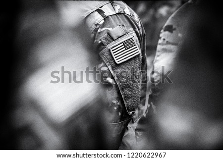 US troops. US soldiers. US army. BW