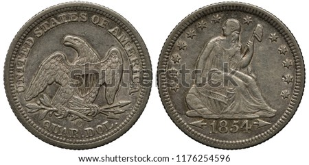 US United States silver coin 1/4 quarter dollar 1854, eagle with shield on chest holding olive branch and bundle of arrows in talons, seated Liberty supporting oval shield surrounded by thirteen stars