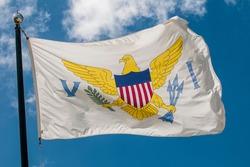 US Virgin Islands flag, Frederiksted, St. Croix, US Virgin Islands.