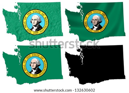 US Washington state flag over map collage