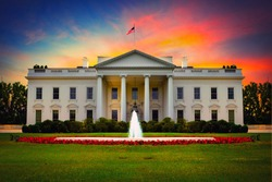 US White House front view at sunset.