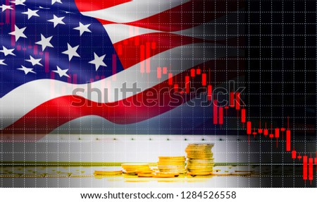 USA America flag candlestick graph background Stock market exchange analysis / indicator of Trading chart business finance money investment with gold coin - Stock Crisis Trade war economy